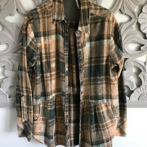 Free people green plaid top- XS